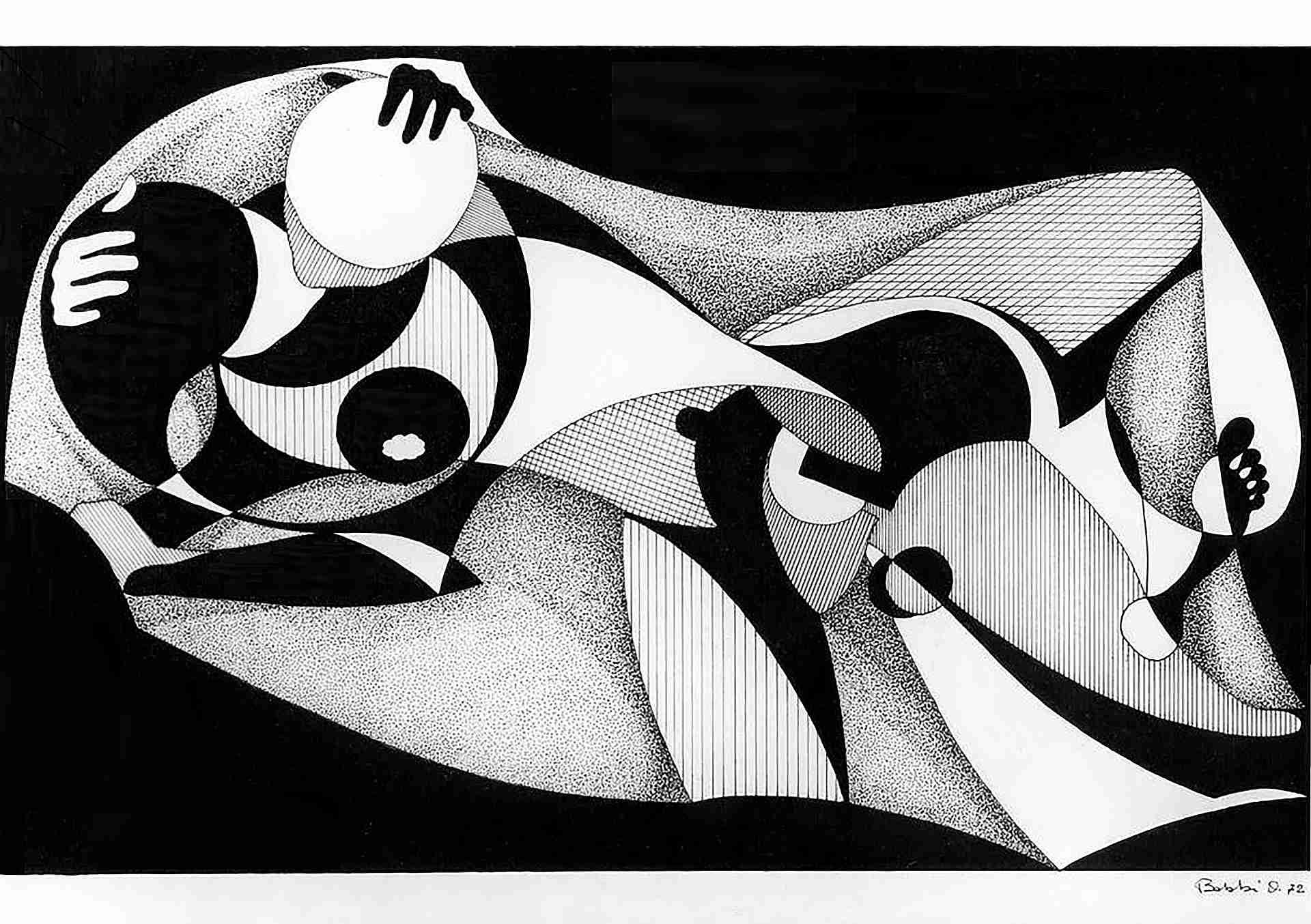 Orazio Bobbi - amplesso - china su cartoncino 1972