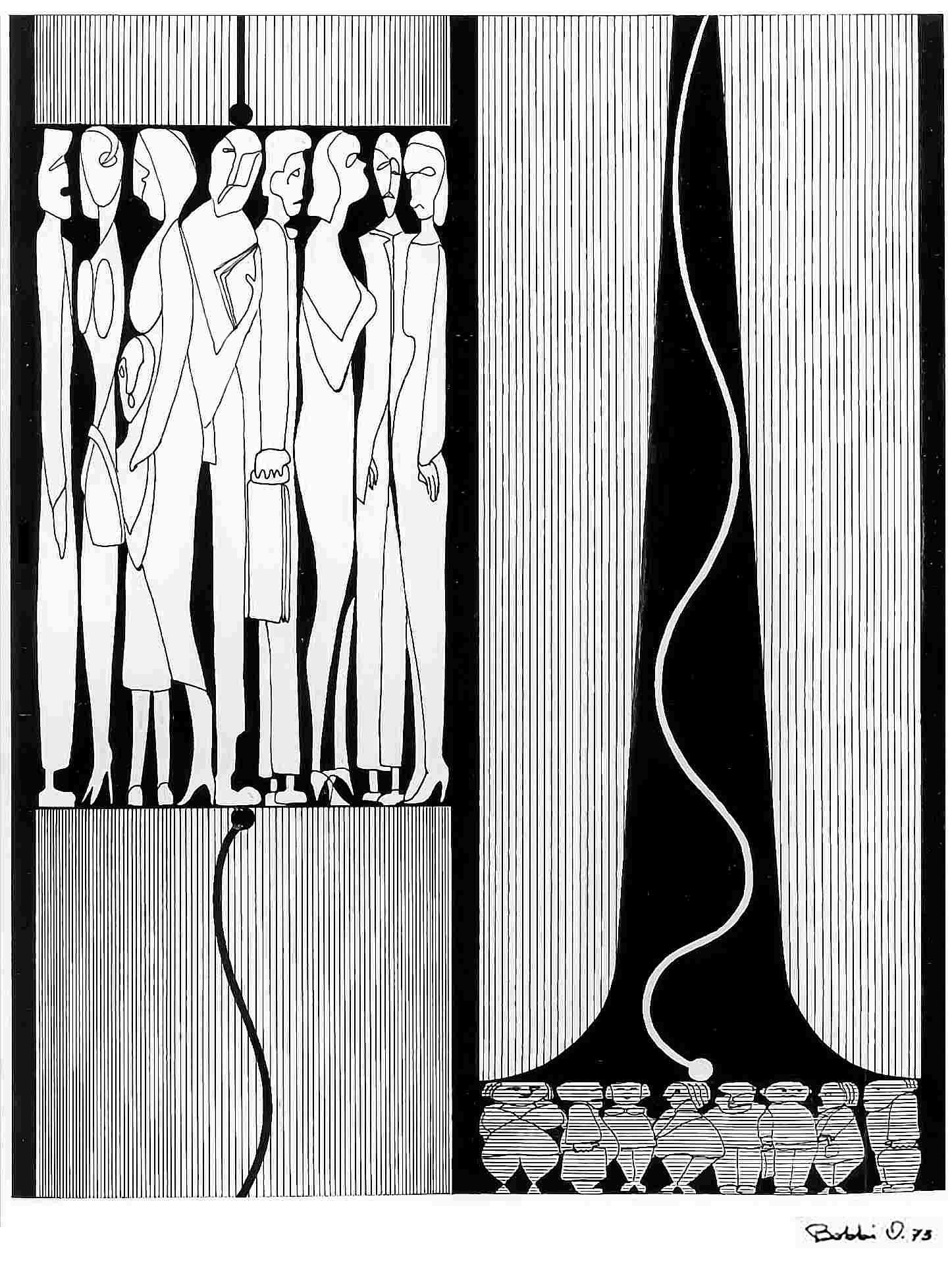 Orazio Bobbi - ascensore - china su cartoncino 1973
