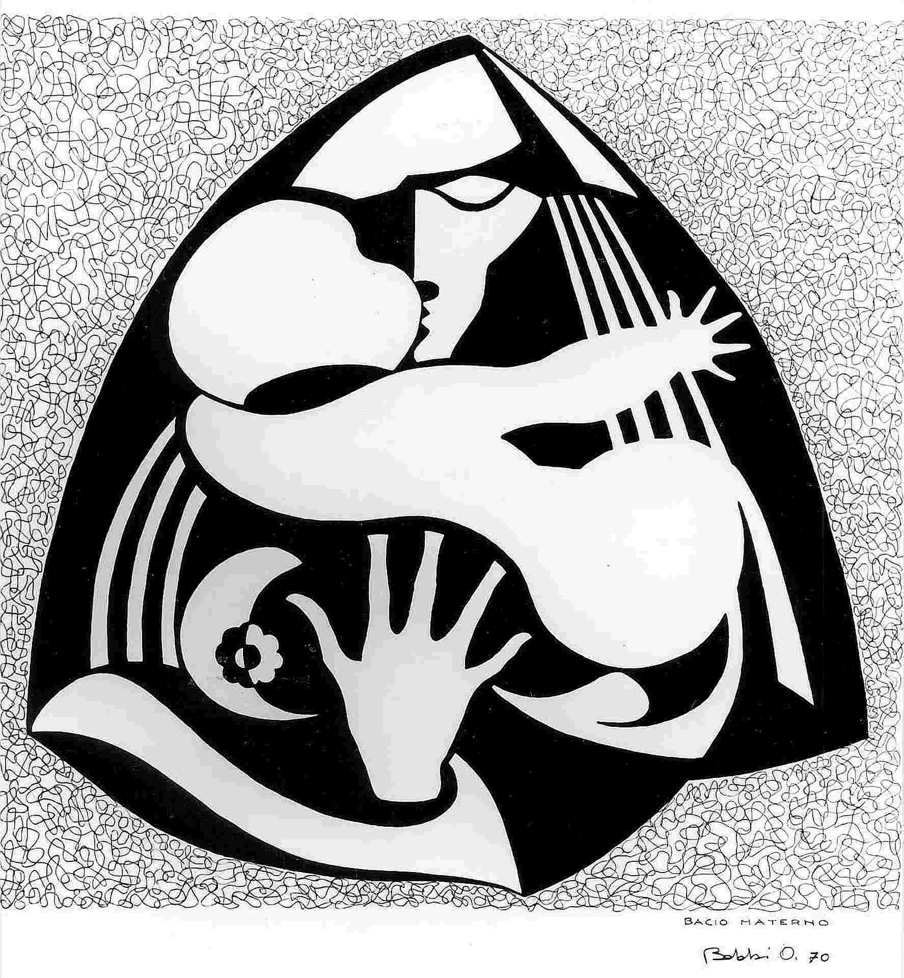 Orazio Bobbi - bacio materno - china su cartoncino 1970