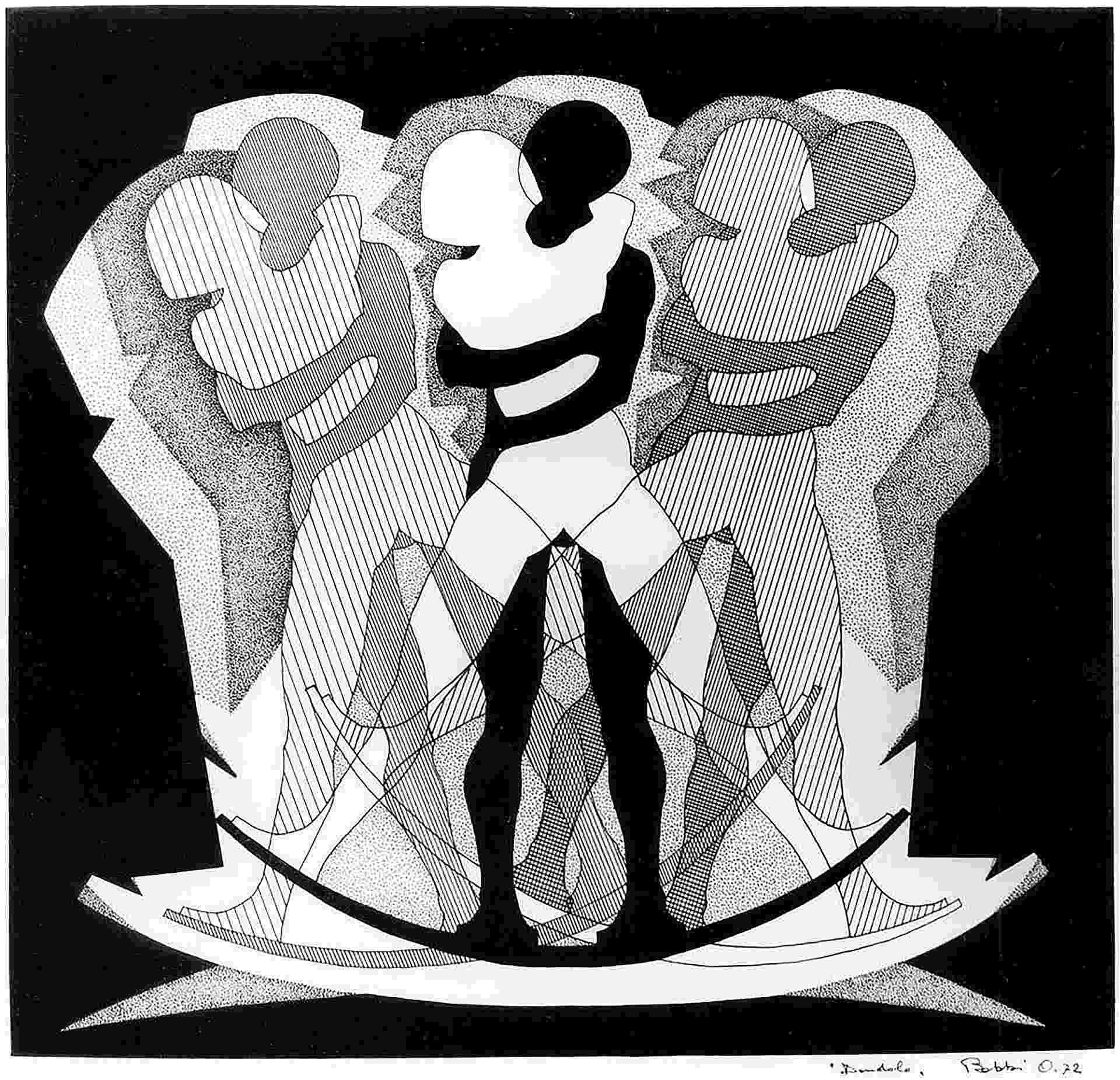 Orazio Bobbi - il dondolo - china su cartoncino 1972
