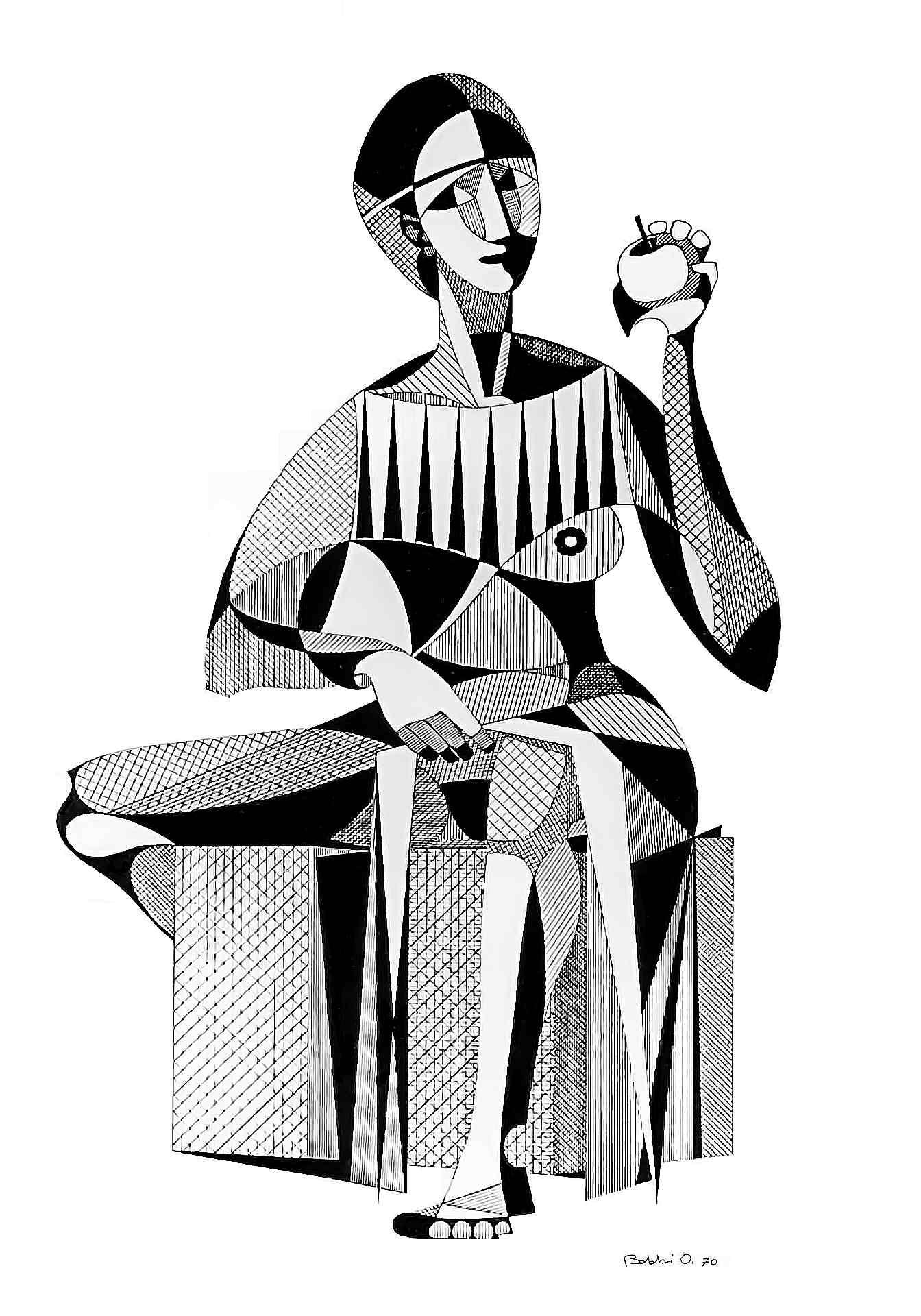 Orazio Bobbi - Eva - china su cartoncino 1970
