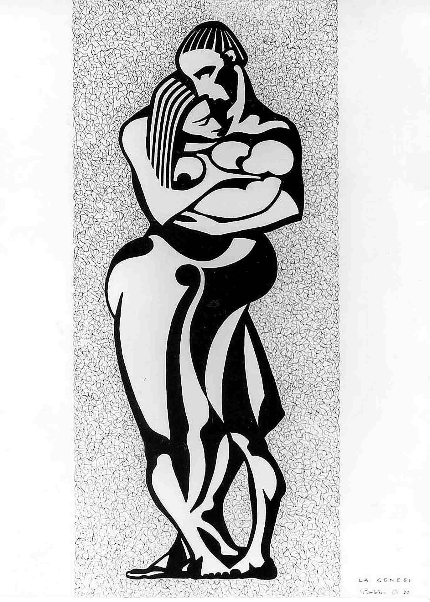 Orazio Bobbi - la Genesi - china su cartoncino 1971