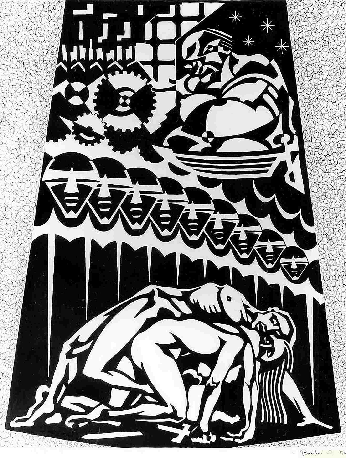 Orazio Bobbi - la guerra - china su cartoncino 1974