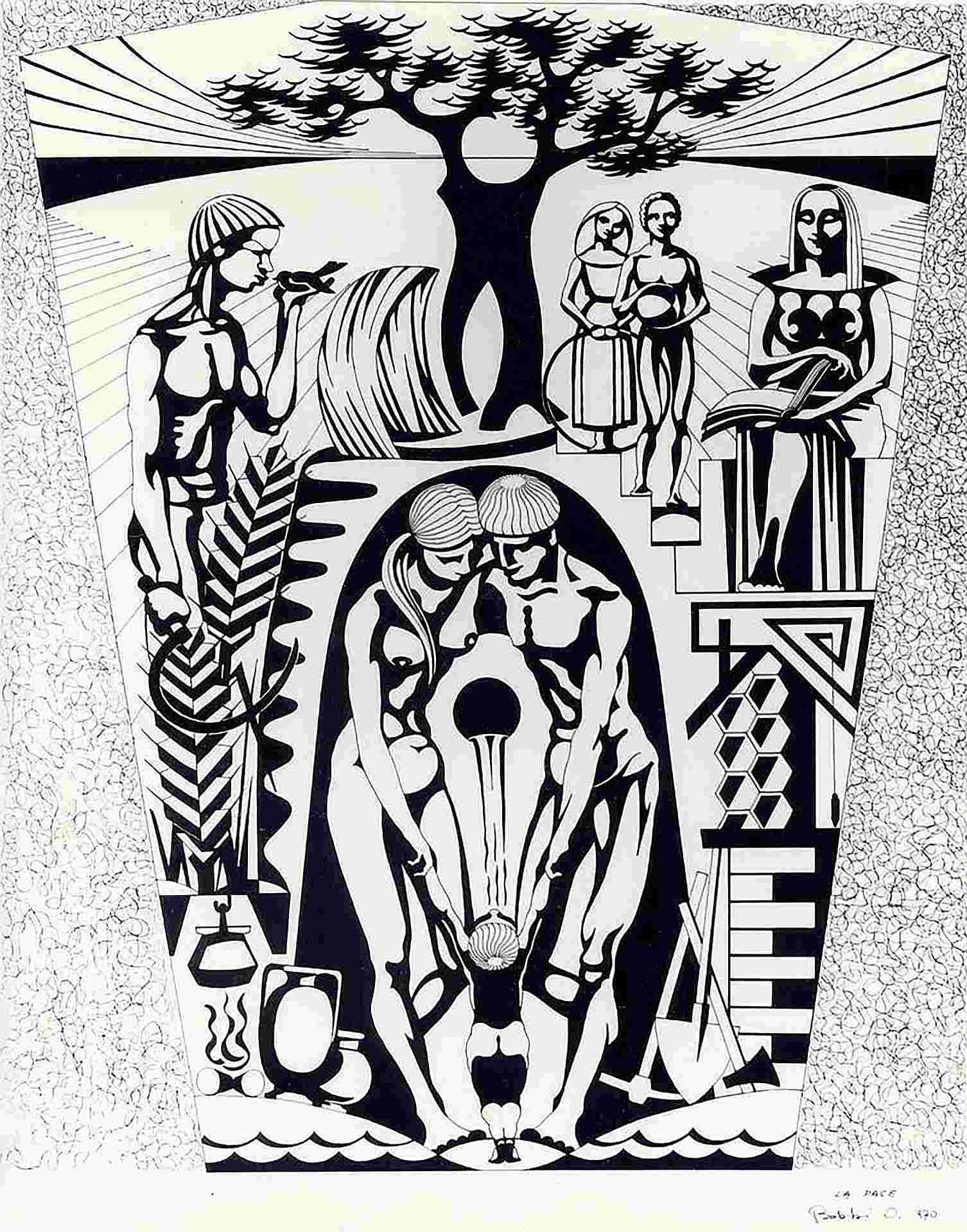 Orazio Bobbi - la pace - china su cartoncino 1970