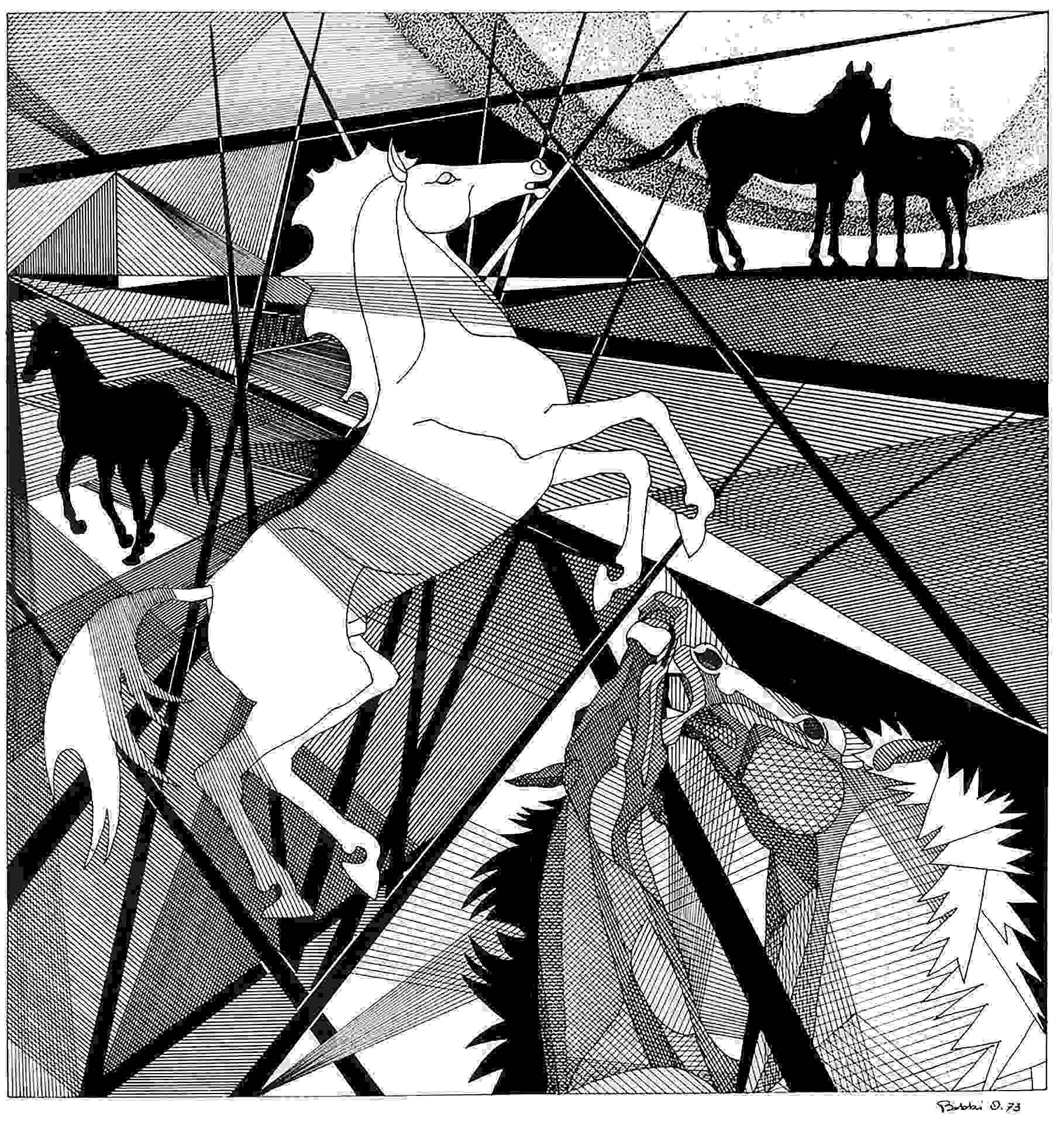 Orazio Bobbi - stalloni e giumente - china su cartoncino 1973